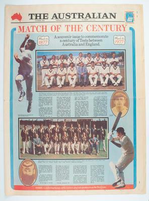 "Newspaper, ""The Australian"" - Centenary Test souvenir issue, 11 March 1977"