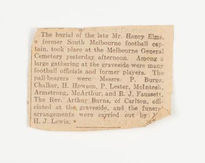 Newspaper clipping, funeral of Sonny Elms - c1928