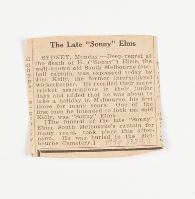 Newspaper clipping, obituary of Sonny Elms - c1928