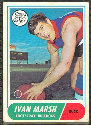 1969 Scanlens (Scanlens) Australian Football Ivan Marsh Trade Card