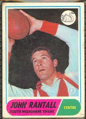 1969 Scanlens (Scanlens) Australian Football John Rantall Trade Card; Documents and books; 1994.3042.234
