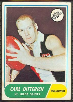 1969 Scanlens (Scanlens) Australian Football Carl Ditterich Trade Card