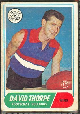 1969 Scanlens (Scanlens) Australian Football David Thorpe Trade Card; Documents and books; 1994.3042.257