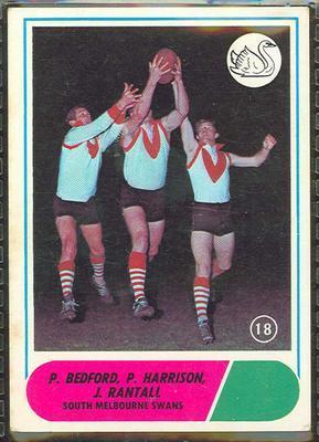 1969 Scanlens (Scanlens) Australian Football P. Bedford, P. Harrison, J. Rantall Trade Card; Documents and books; 1994.3042.260