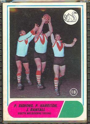 1969 Scanlens (Scanlens) Australian Football  P. Bedford, P. Harrison, J. Rantall Trade Card; Documents and books; 1994.3042.261