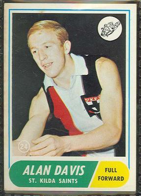 1969 Scanlens (Scanlens) Australian Football Alan Davis Trade Card