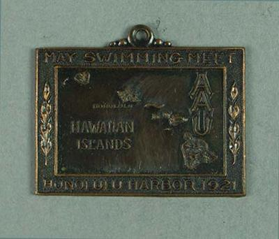 Bronze medal presented to second place in Hawaiian Islands AAU 220 yards swim 27 May 1921, won by Frank Beaurepaire