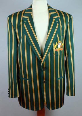 Australian cricket blazer, striped with coat of arms on pocket