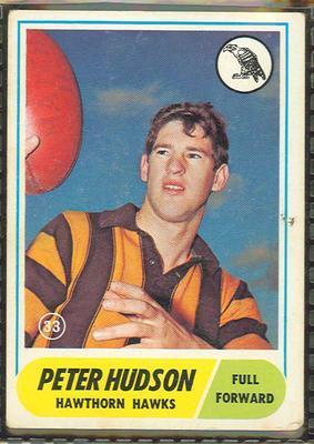 1969 Scanlens (Scanlens) Australian Football Peter Hudson Trade Card; Documents and books; 1994.3042.281