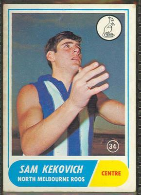 1969 Scanlens (Scanlens) Australian Football Sam Kekovich Trade Card