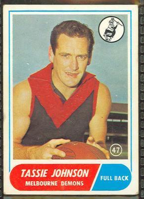 1969 Scanlens (Scanlens) Australian Football Tassie Johnson Trade Card