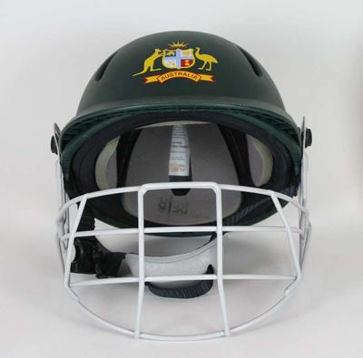 Australian cricket helmet with face guard, made by Albion C&D