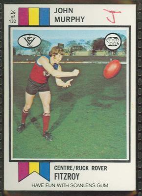 1974 Scanlens (Scanlens) Australian Football John Murphy Trade Card