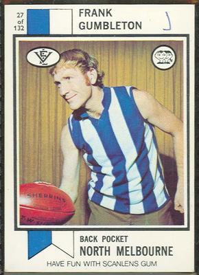 1974 Scanlens (Scanlens) Australian Football Frank Gumbleton Trade Card