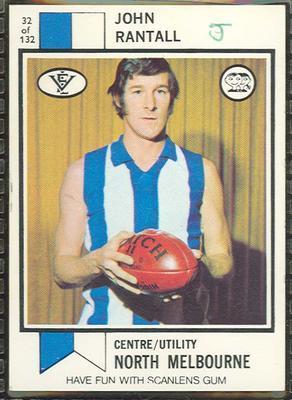 1974 Scanlens (Scanlens) Australian Football John Rantall Trade Card