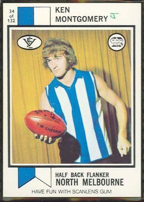 1974 Scanlens (Scanlens) Australian Football Ken Montgomery Trade Card; Documents and books; 1994.3042.331