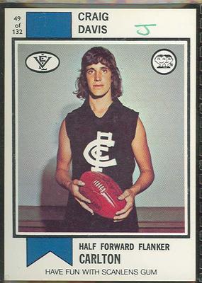 1974 Scanlens (Scanlens) Australian Football Craig Davis Trade Card