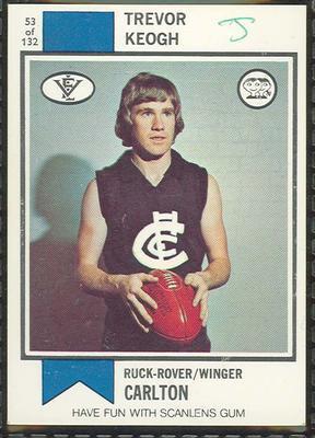 1974 Scanlens (Scanlens) Australian Football Trevor Keogh Trade Card