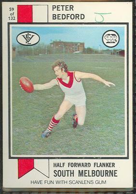 1974 Scanlens (Scanlens) Australian Football Peter Bedford Trade Card