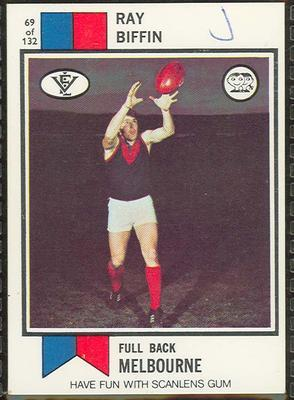 1974 Scanlens (Scanlens) Australian Football Ray Biffin Trade Card