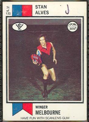 1974 Scanlens (Scanlens) Australian Football Stan Alves Trade Card