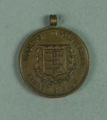 Bronze medallion presented by Woolwich Polytechnic Athletic Club to Frank Beaurepaire in 1908