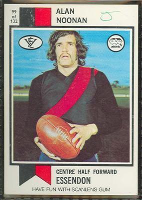 1974 Scanlens (Scanlens) Australian Football Alan Noonan Trade Card