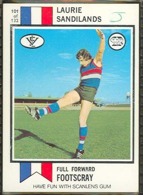1974 Scanlens (Scanlens) Australian Football Laurie Sandilands Trade Card; Documents and books; 1994.3042.386