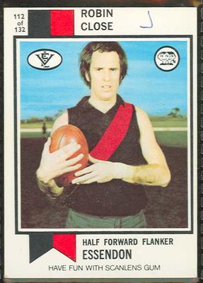 1974 Scanlens (Scanlens) Australian Football Robin Close Trade Card; Documents and books; 1994.3042.397