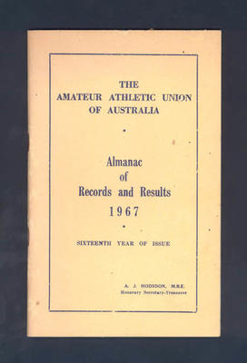 Booklet, Amateur Athletic Union of Australia Almanac of Records and Results 1967