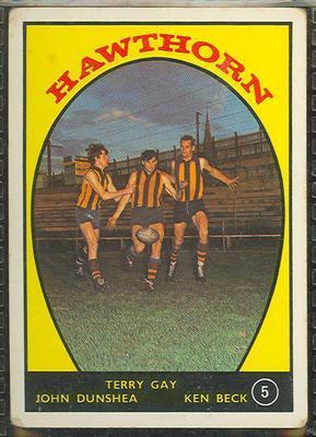 1968 Scanlens (Scanlens) Australian Football Terry Gay, John Dunshea, Ken Beck Trade Card