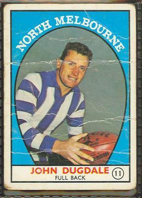 1968 Scanlens (Scanlens) Australian Football John Dugdale Trade Card