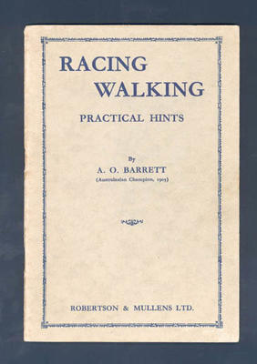 "Booklet, ""Racing Walking"" by A O Barrett"