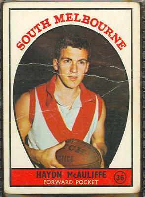 1968 Scanlens (Scanlens) Australian Football Haydn McAuliffe Trade Card