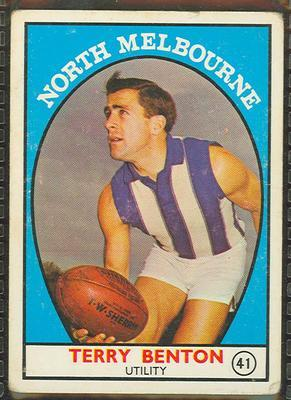 1968 Scanlens (Scanlens) Australian Football Terry Benton Trade Card