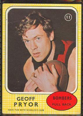 1970 Scanlens (Scanlens) Australian Football Geoff Pryor Trade Card