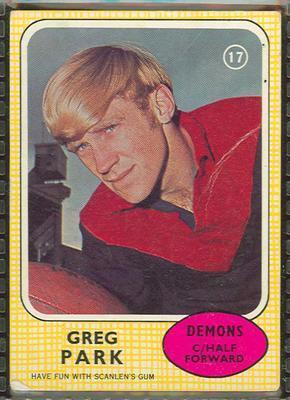 1970 Scanlens (Scanlens) Australian Football Greg Park Trade Card