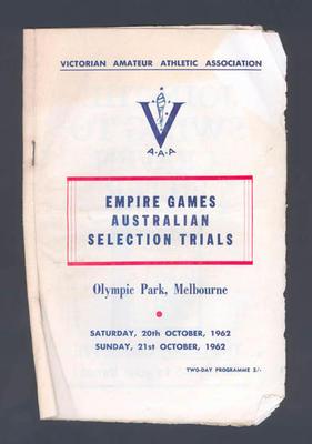 Programme, 1962 Empire Games Australian Selection Trials