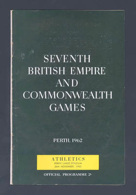 Programme, 1962 British Empire and Commonwealth Games athletic events; Documents and books; 1992.2630.92
