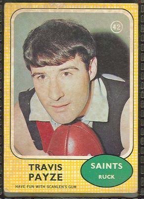 1970 Scanlens (Scanlens) Australian Football Travis Payze Trade Card