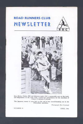 "Booklet, ""Road Runners Club Newsletter"" - April 1966; Documents and books; 1992.2630.93"