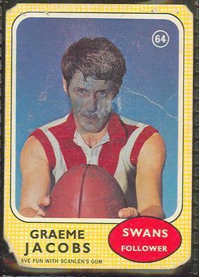 1970 Scanlens (Scanlens) Australian Football Graeme Jacobs Trade Card