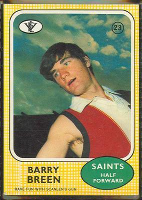1972 Scanlens (Scanlens) Australian Football Barry Breen Trade Card