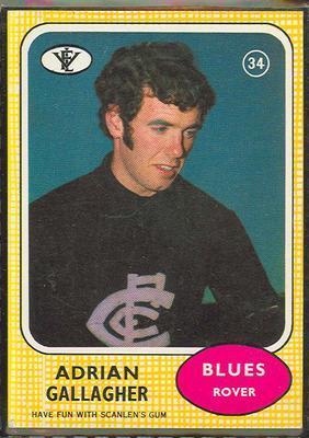 1972 Scanlens (Scanlens) Australian Football Adrian Gallagher Trade Card