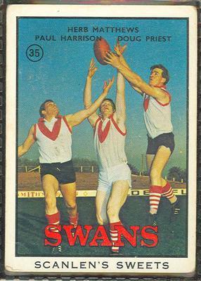 1968 Scanlens (Scanlens) Australian Football Herb Matthews, Paul Harrison, Doug Priest Trade Card