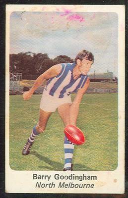 1971 Sunicrust (Sunicrust) Australian Football Barry Goodingham Trade Card; Documents and books; 1994.3042.580
