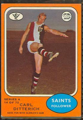 1973 Scanlens (Scanlens) Australian Football Carl Ditterich Trade Card