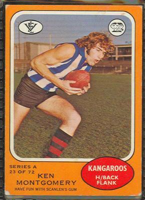 1973 Scanlens (Scanlens) Australian Football Ken Montgomery Trade Card; Documents and books; 1994.3042.614