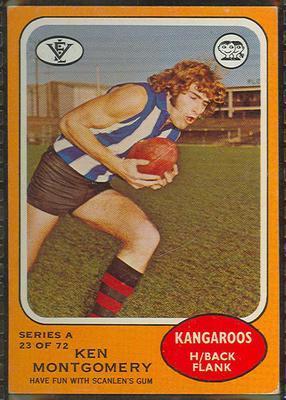 1973 Scanlens (Scanlens) Australian Football Ken Montgomery Trade Card; Documents and books; 1994.3042.615