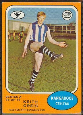 1973 Scanlens (Scanlens) Australian Football Keith Greig Trade Card